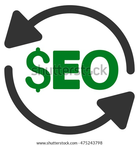 Update Seo icon. Glyph style is bicolor flat iconic symbol with rounded angles, green and gray colors, white background.