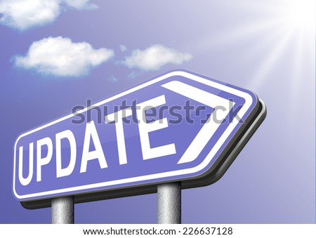 Update  updating software now and here to the latest newest version or new edition  - stock photo