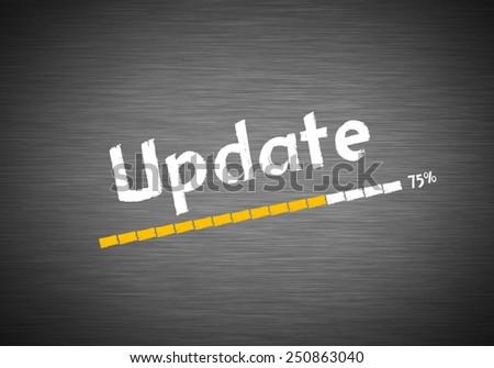 Update written on blackboard - stock photo
