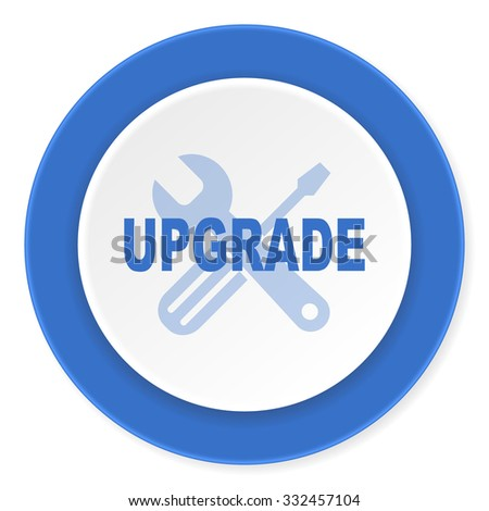upgrade blue circle 3d modern design flat icon on white background  - stock photo