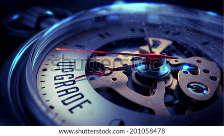 Upgrade on Pocket Watch Face with Close View of Watch Mechanism. Time Concept. Vintage Effect. - stock photo