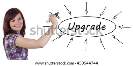 Upgrade - young businesswoman drawing information concept on whiteboard.  - stock photo