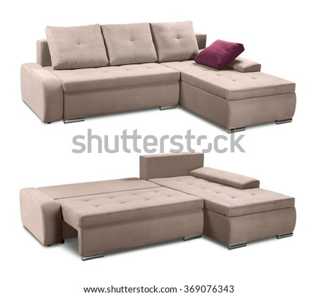 Upholstery corner sofa set with pillows isolated on white background with clipping path
