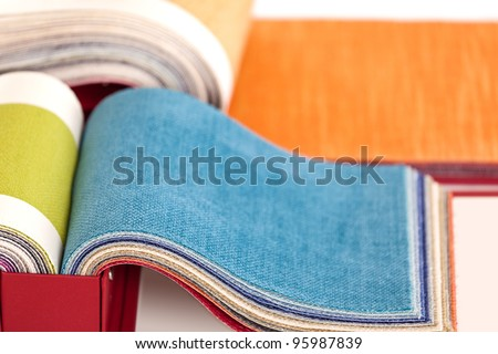 Upholstery fabric samples - stock photo