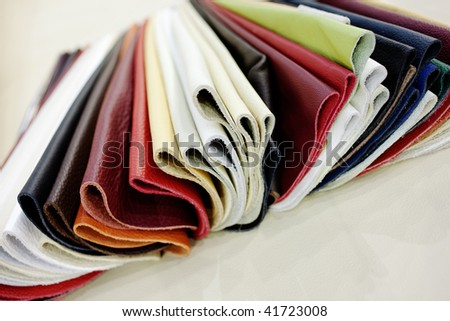 upholstery faux leather samples - stock photo