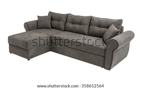 Upholstery sofa corner set with pillows isolated on white background with clipping path - stock photo