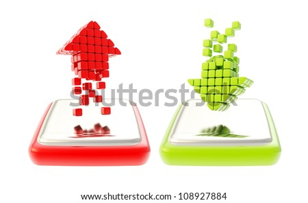 Upload and download buttons as green and red arrows over glossy chrome buttons isolated on white - stock photo