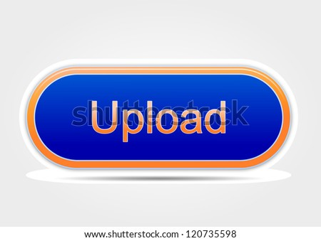 Upload button blue and orange - stock photo