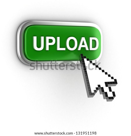 upload 3d button - stock photo