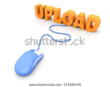 Upload data. 3D rendered Illustration. Isolated on white. - stock photo