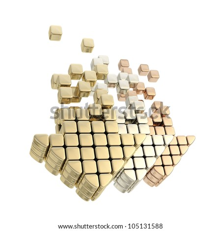 Upload service level metaphor as row of golden, silver, bronze arrows isolated on white - stock photo