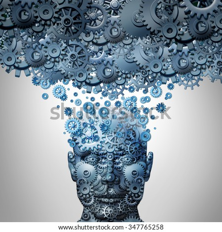 Upload your mind or uploading your brain concept as a human head made of  gears or cog wheels being uploaded to a machine cloud server as an artificial intelligence symbol or neuroscience technology. - stock photo