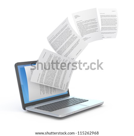 Uploading documents from laptop. 3d illustration. - stock photo