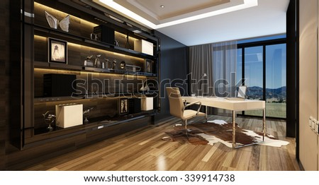 Upmarket home office with a modern desk with a panoramic view through glass windows and large shelving cabinet against the wall, lit by overhead lighting. 3d Rendering. - stock photo