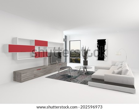 Upmarket Modern Living Room Interior With Vivid Red Accents And White Decor  With A Comfortable Modular