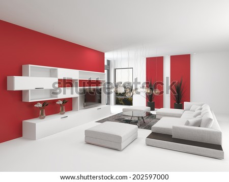 Upmarket modern living room interior with vivid red accents and white decor with a comfortable modular lounge suite and white wooden wall cabinets with a TV - stock photo