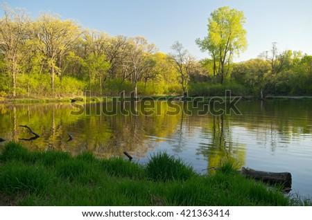 upper afton section of battle creek regional park in saint paul minnesota during peak spring season  - stock photo