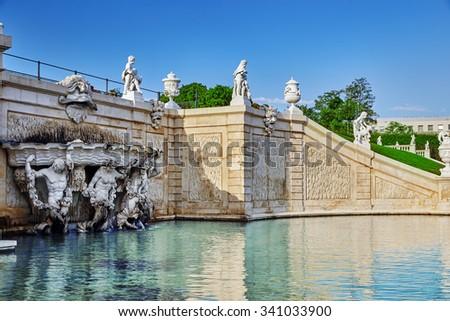 Upper Belvedere.Beautiful fountains in complex Belvedere.Vienna. Austria. - stock photo