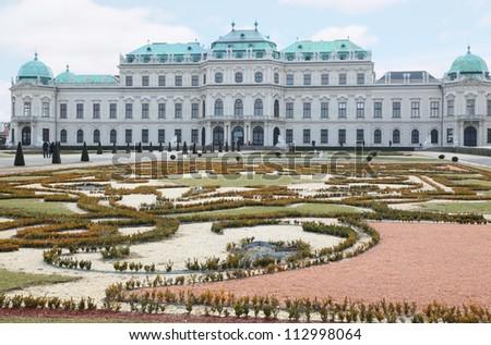 Upper Belvedere with pond in Vienna, Austria - stock photo