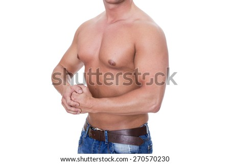 Upper body of a muscular, slim, young man / strong upper arms / Muscles