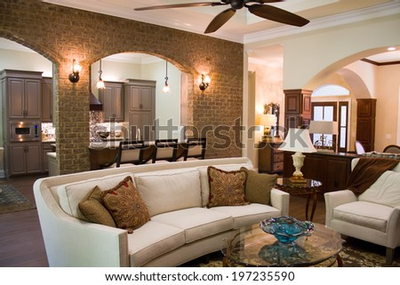 Upper class executives home interior furnished and decorated with expensive luxury furniture and accessories. - stock photo