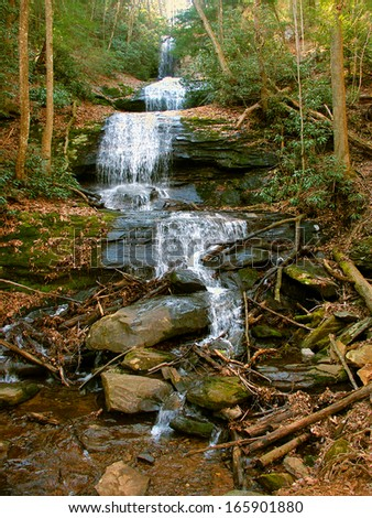 Upper Desoto Falls in the Chattahoochee National Forest of Georgia - stock photo