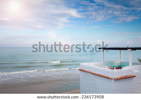 Upper Floor Terrace Over Sea View With Blue Sky and Sun Light - stock photo