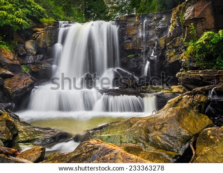 Upper Laurel Creek Falls is a waterfall in scenic New River Gorge area of Fayette County, West Virginia. - stock photo