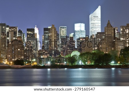 Upper Manhattan Panorama at night