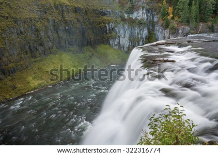 Upper Mesa Falls near Rexburg Idaho. - stock photo
