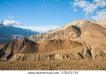 Upper Mustang mountain landscape, Annapurna conservation area, Nepal - stock photo