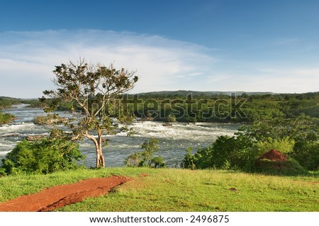 Upper of Nile river in Uganda - stock photo