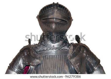 Upper part of an armour of medieival knight, isolated on white