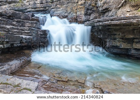 Upper Waterfall at the Johnston Canyon in banff Canada  - stock photo