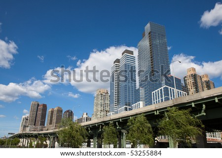 Upper West Side Manhattan Park with Skyscrapers - stock photo