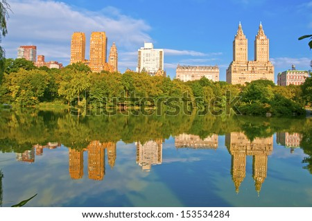 Upper West Side Skyline from Central Park, New York City - stock photo