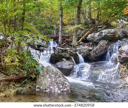 Upper Whiteoak Falls on the Robinson River, on Skyline Drive, in Shenandoah National Park, Virginia. - stock photo