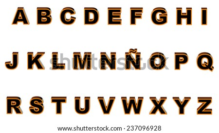 uppercase alphabet 3d rendering with clipping path - stock photo