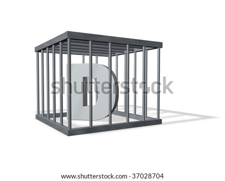 uppercase letter d in a cage on white background - 3d illustration - stock photo