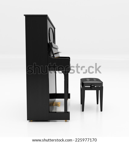 Upright piano on light background in studio - stock photo