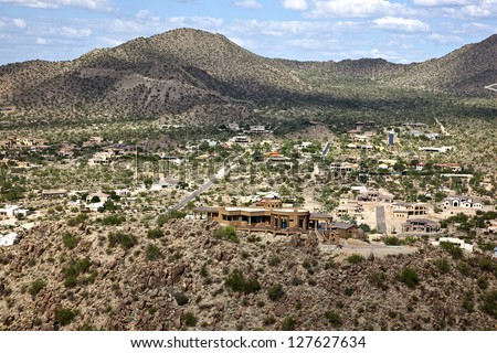 Upscale Arizona desert community in East Mesa as viewed from above - stock photo