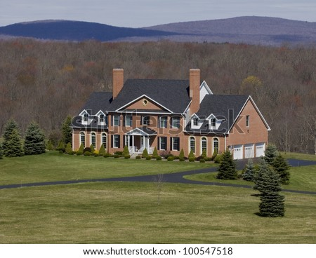 Upscale house in the mountains of Western Maryland. - stock photo