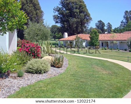 Upscale inn and spa in Southern California and gardens - stock photo