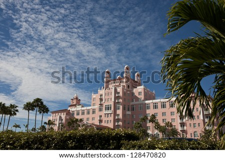 Upscale landmark resort in St. Pete's Beach, Florida - stock photo