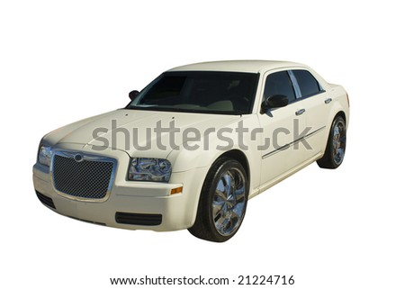 upscale, pearl white luxury sedan on white - stock photo
