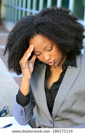 Upset African American Professional Business Person Pretty Beautiful Wearing Black Shirt and Suit - stock photo