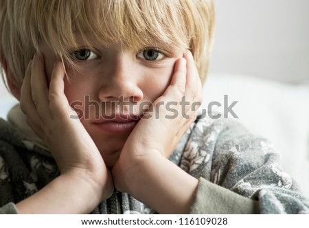 Upset boy - stock photo