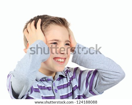 upset boy , holding his hands behind his head isolated on white - stock photo
