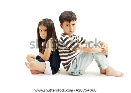 Upset brother and sister together. Isolated on white background - stock photo