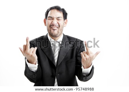 Upset businessman giving middle finger